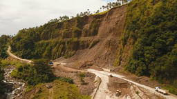 Landslide on the road in the mountains.Camiguin island Philippines Footage