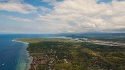 Aerial view beautiful beach on tropical island. Cebu island Philippines Footage