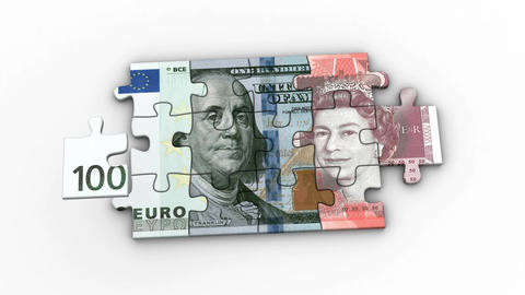Animated Puzzles with Image of 100 Euro, 100 Dollar and 50 Pound Animation