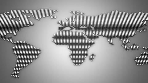 Spheres Form A World Map Animation