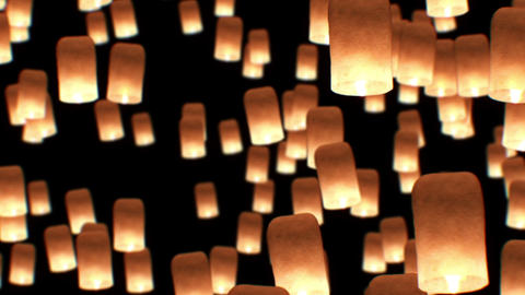 Flying Lanterns Yeepang Festival. Beautiful 3d animation. HD 1080. Close-up view Animation