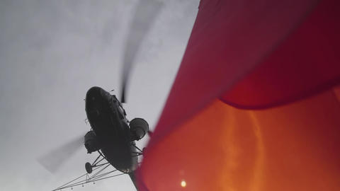 The USSR flag waving in slow motion against Helicopter Footage