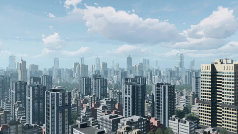 City downtown and time lapse clouds sky Animation