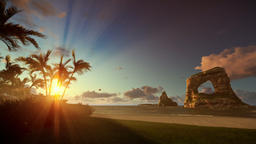 Tropical beach with rocks in ocean and aircraft landing, beautiful sunrise, tilt Animation