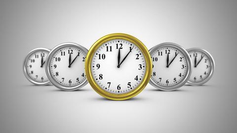 Five Clocks Move Forward Animation