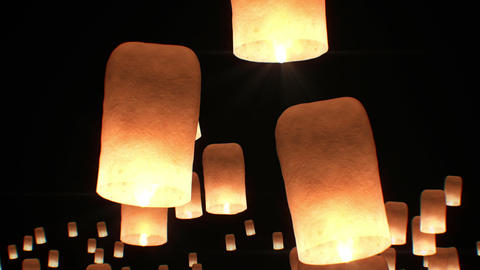 Flying Lanterns in Yeepang Festival. Beautiful 3d animation. No people. HD 1080 Animation