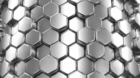 Abstract Background of Silver Honeycombs Animation