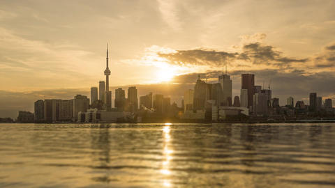 Toronto, Canada - Timelapse - Day to Night from Polson Pier Footage
