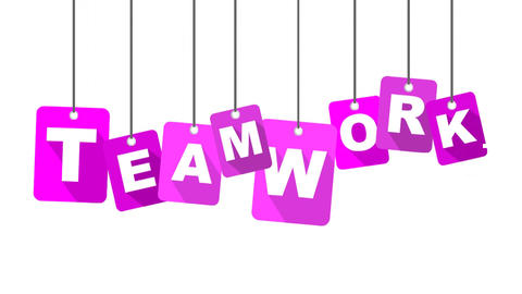 teamwork video with purple flat tag Animation