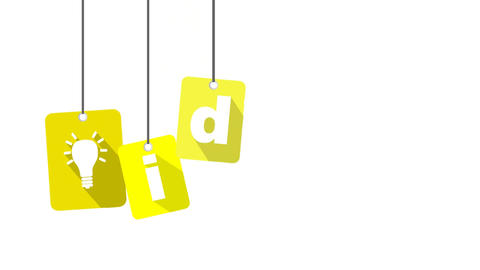 idea video with yellow flat tag Stock Video Footage