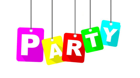 party video with colorful flat tag Animation