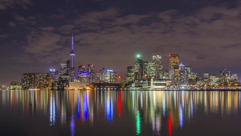Toronto, Canada - Timelapse - Nightime from Polson Pier Footage
