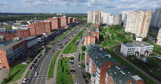 Architecture, Streets and apartments aerial in Moscow GIF
