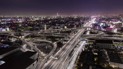 Motorway junction night view (Osaka Japan) ビデオ