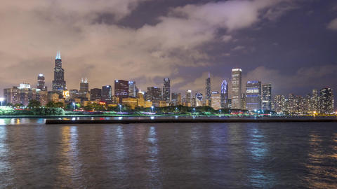 Chicago, USA - Timelapse - The Skyline at Night Footage