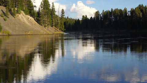 Calm Yellowstone River High Cloud Reflection National Park Footage