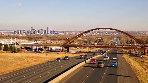Denver Skyline Transit Train Bridge Colorado Landscape Highway Footage