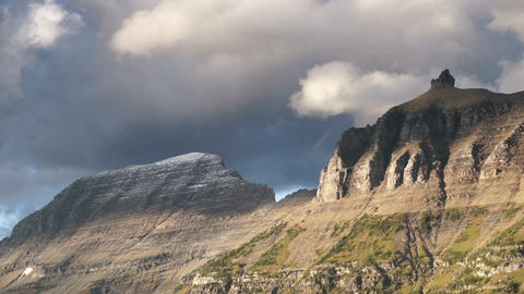 Fast Motion Clouds Move Over Mountains Glacier National Park Footage