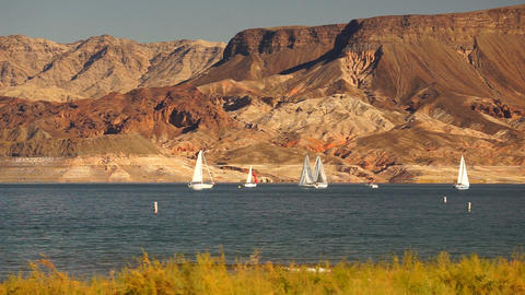 Sailboats Ride Wind Lake Mead Recreation Area Boaters Sail Footage