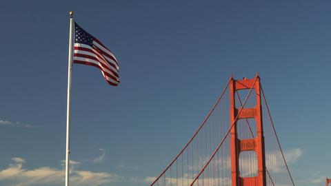US American Flag Waving Golden Gate Bridge National Recreation Area Footage