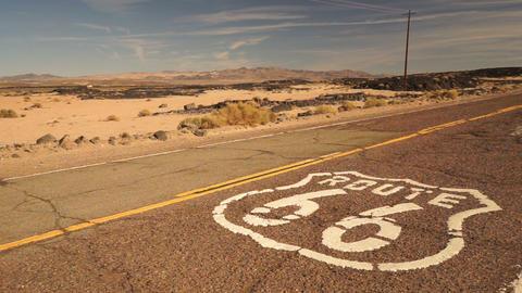 Rural Route 66 Two Lane Historic Highway Cracked Asphalt Footage