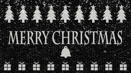 Black and white decorative video with text Merry Christmas, bell, gifts and Chri Animation