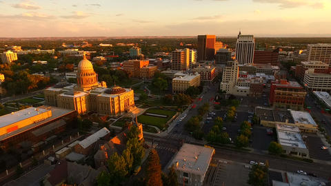 Downtown Boise City Skyline Capital Building Dusk Sunset Footage