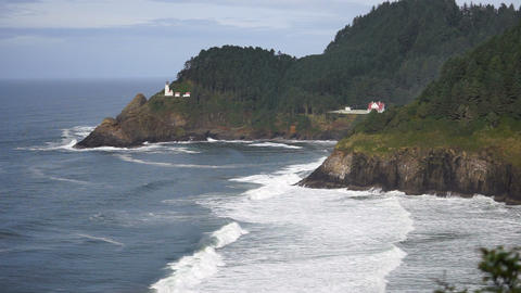 Heceta Head Oregon Coast Lighthouse Nautical Beacon USA Footage