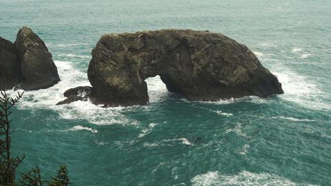 Arch Rock Pacific Ocean Oregon Coast United States Footage