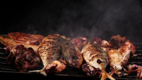 Bbq sea food and pork Footage