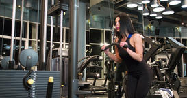 Fitness woman weight arms workout 4k gym video. Triceps exercise cable machine Footage