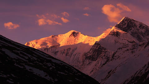 Annapurna and Gangapurna peaks Sunrise Time Lapse Animation