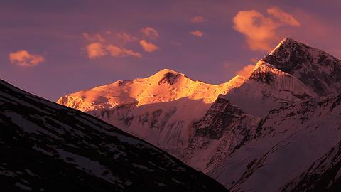 Annapurna and Gangapurna peaks Sunrise Time Lapse Footage