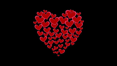 Abstract heart shape from small hearts video clip Animation