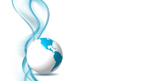 Blue abstract waves and globe animated background Animation
