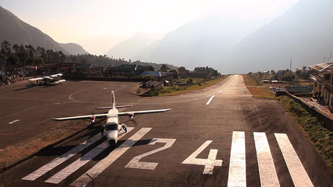 The plane prepares for take off in Lukla Footage