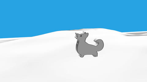 Black dog running in a snow CG動画素材