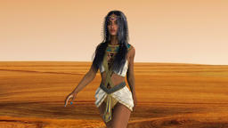 girl in oriental costume walking in the desert of Egypt Animation