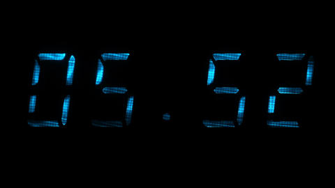 Digital clock shows time of 05 minutes 40 seconds to 06 minutes 10 seconds Footage