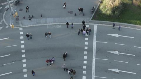 Pedestrians crossing road Footage