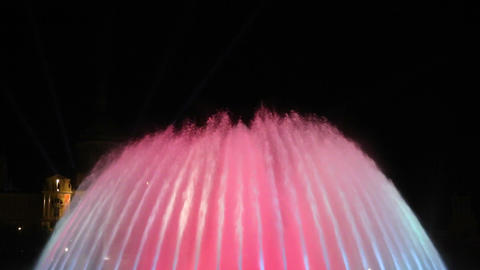 Magic fountain Barcelona at night various colors Footage