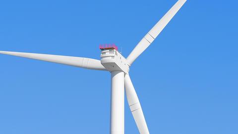 Wind turbine spinning close up loop Footage