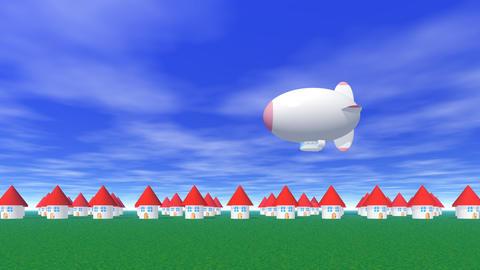 Airship town CG動画素材