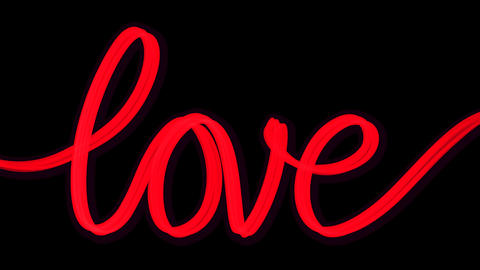 Word love written red transparent Animation