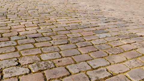 Old cobbled street pan wide Footage