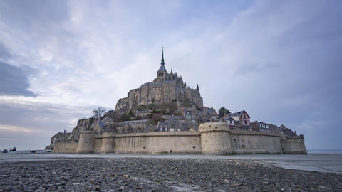Mont Saint-Michel, France - Timelapse - Shot before the sunset Footage