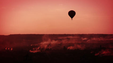 Morning Balloon Flight stock footage