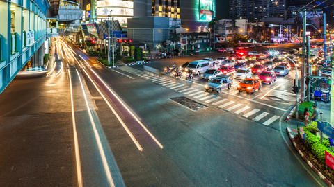 1080p - STREET CROSSING - Time lapse in Bangkok Footage
