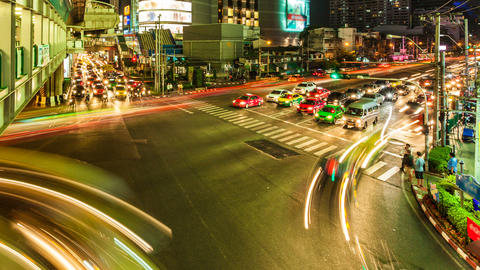 1080p - STREET CROSSING - Time lapse in Bangkok Stock Video Footage