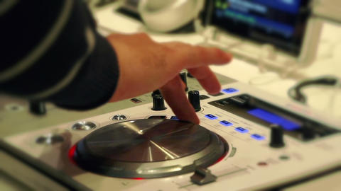 Young man at the dj player Stock Video Footage